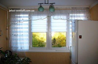 Рулонные шторы День-Ночь (Зебра) белого цвета на кухню