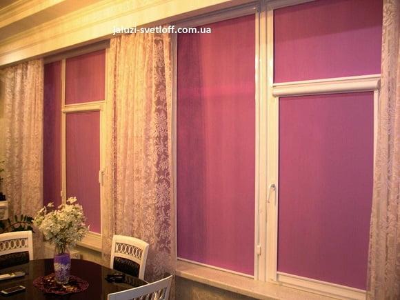 Розовые рулонные шторы закрытого типа на окнах гостиной